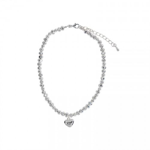 Simple Heart Charm Necklace with Irregular Shaped Silver Nuggets